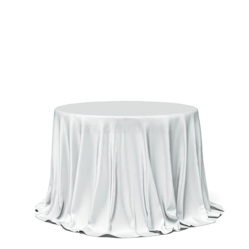 Mesa redonda e pano brancos grandes imagens de stock royalty free