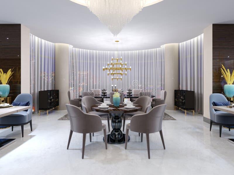 Mesa redonda moderna no restaurante do hotel, para quatro pessoas, com cadeiras de couro e uma tabela de madeira servida Uma tabe ilustração stock