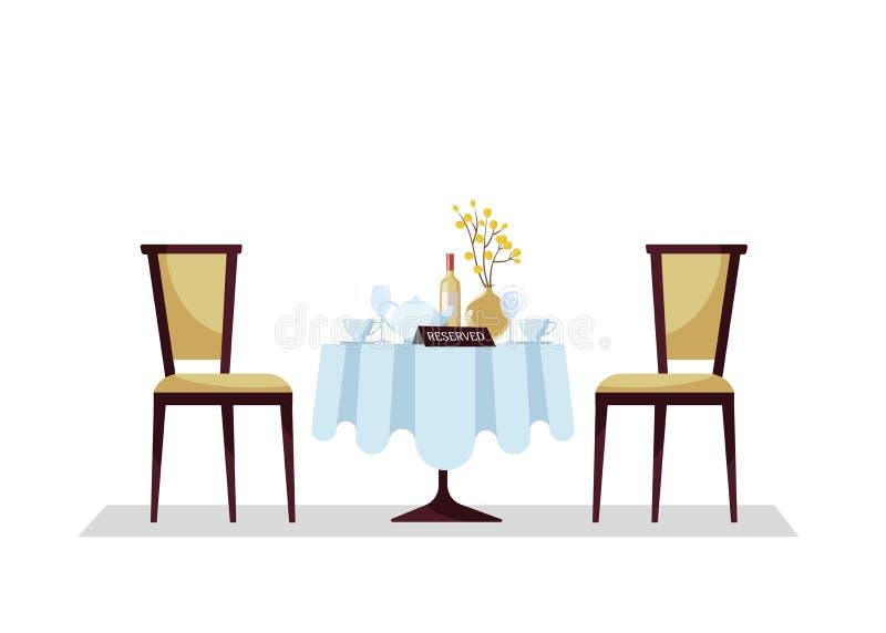 Mesa redonda reservada del restaurante costoso con el mantel, planta, copas, botella de vino, tetera, cortes, tablero de la mesa  libre illustration