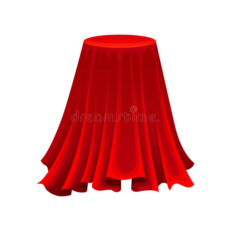 Mesa redonda sob o pano de seda vermelho conceito do mist?rio ilustração royalty free