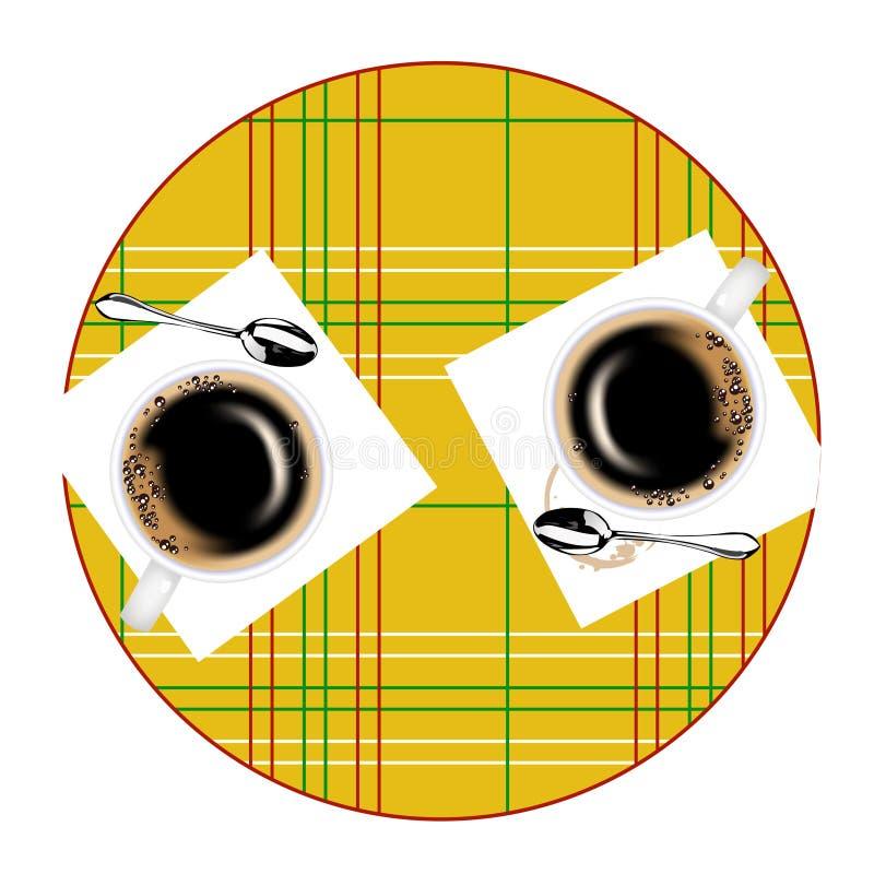 Mesa redonda y dos tazas de café ilustración del vector