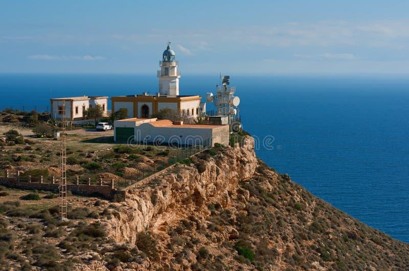 Mesa Roldan Lighthouse i Spanien arkivbild