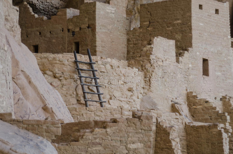 Mesa Verde Ladder Close Up. Ladder at Cliff Palace in Mesa Verde National Park stock photo