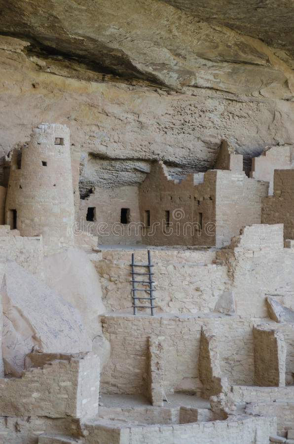 Mesa Verde Ladder Vertical. Close up of Cliff Palace dwelling in Mesa Verde National Park royalty free stock photos