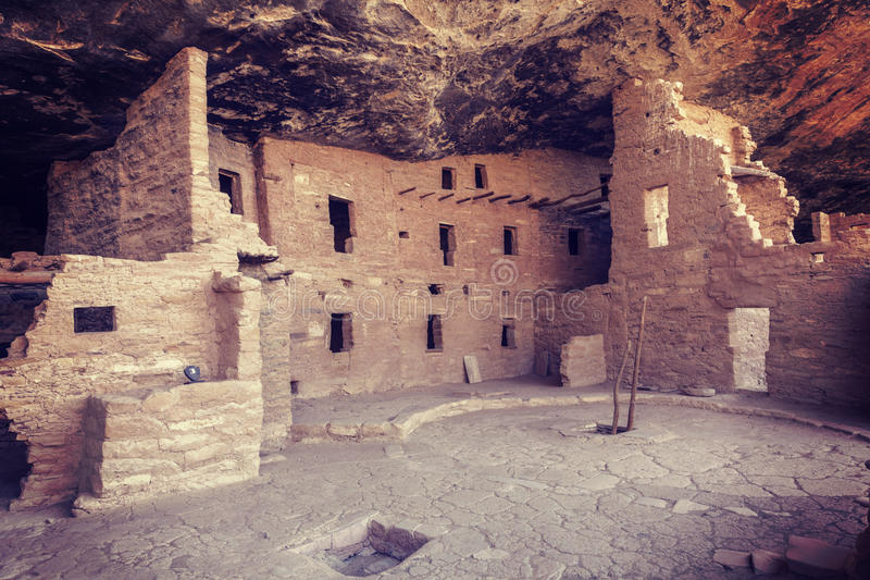 Mesa Verde National Park. Cliff Dwelling in Mesa Verde National Park, Colorado, USA, with an instagram filter stock images