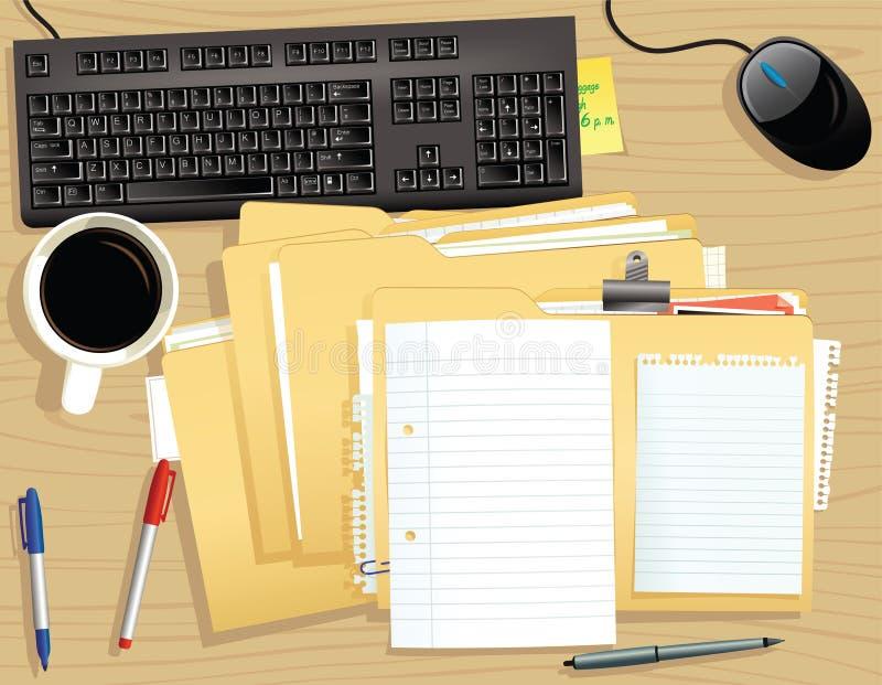 Mesa y pila de ficheros ilustración del vector
