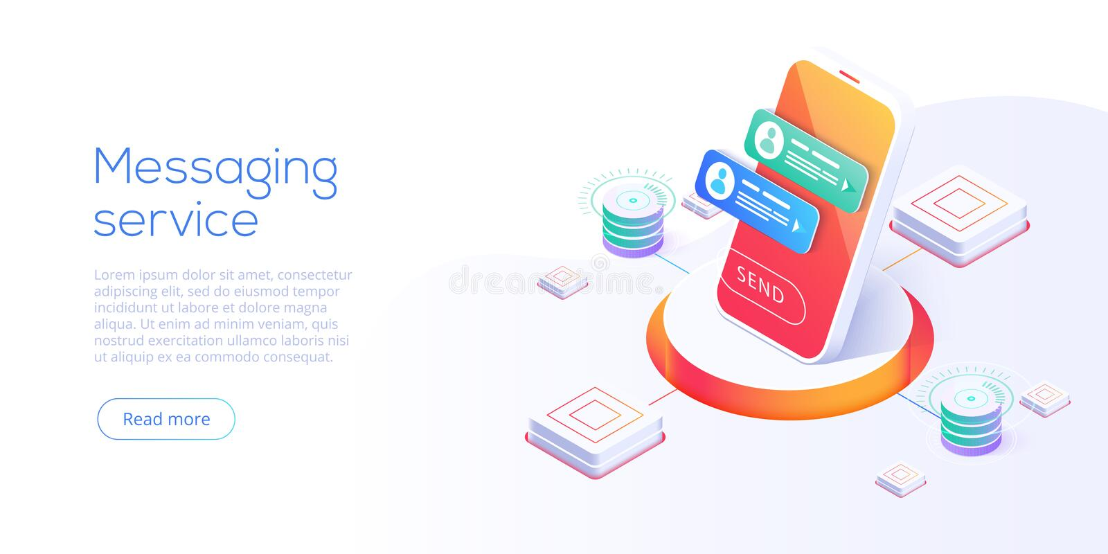 Mesaging service concept in isometric vector illustration. Electronic messenger app for smartphone. Webmail or mobile application royalty free illustration