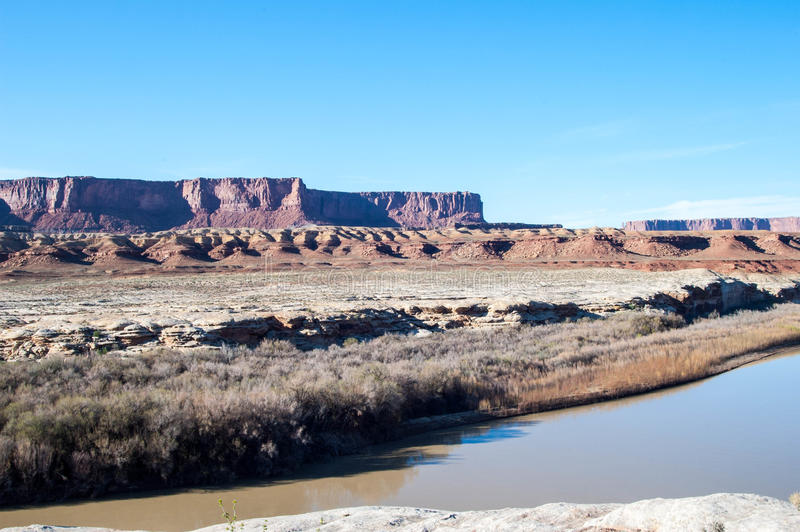 Mesas in Canyonlands. Mesas and cayons over the green river in Canyonlands nation park Utah royalty free stock photography