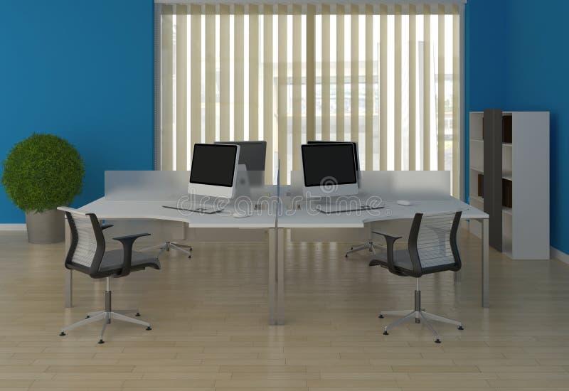 Mesas de escritório do sistema com as divisórias no azul dentro ilustração royalty free
