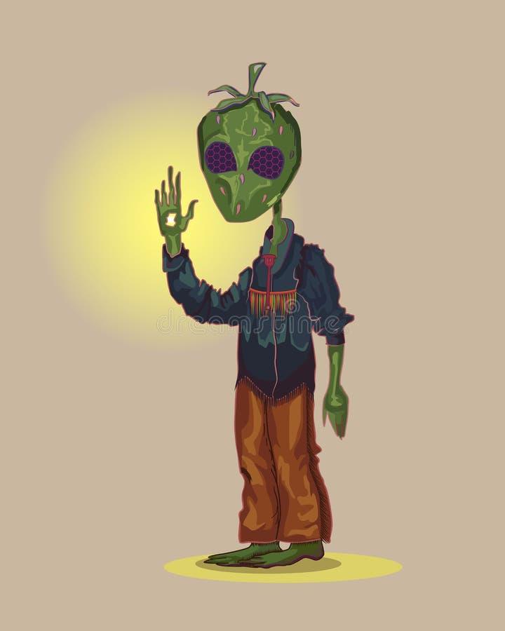 Mescalito med ett huvud i form av en grön jordgubbe och med facetted ögon är arkivbilder
