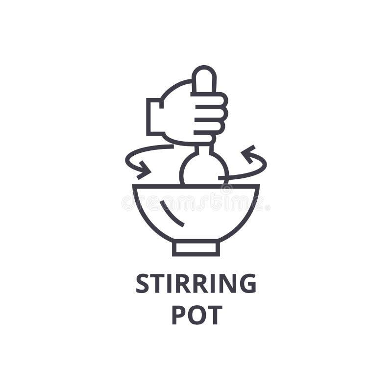 Mescolando il vaso allini l'icona, il segno del profilo, il simbolo lineare, il vettore, illustrazione piana illustrazione di stock