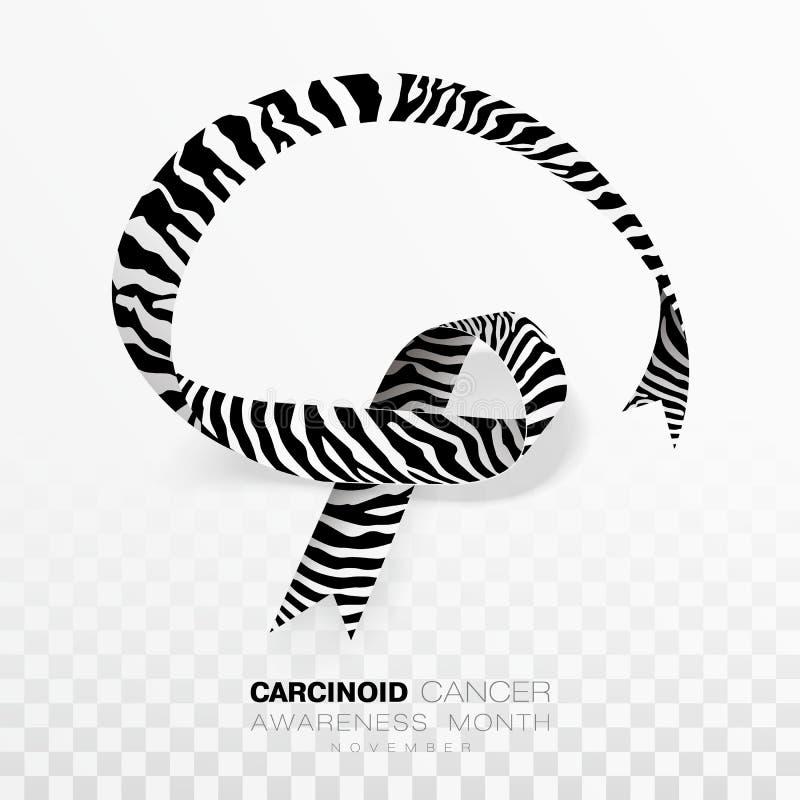 Mese cancroide di consapevolezza del Cancro Nastro di colore della banda della zebra isolato su fondo trasparente Modello di dise illustrazione vettoriale