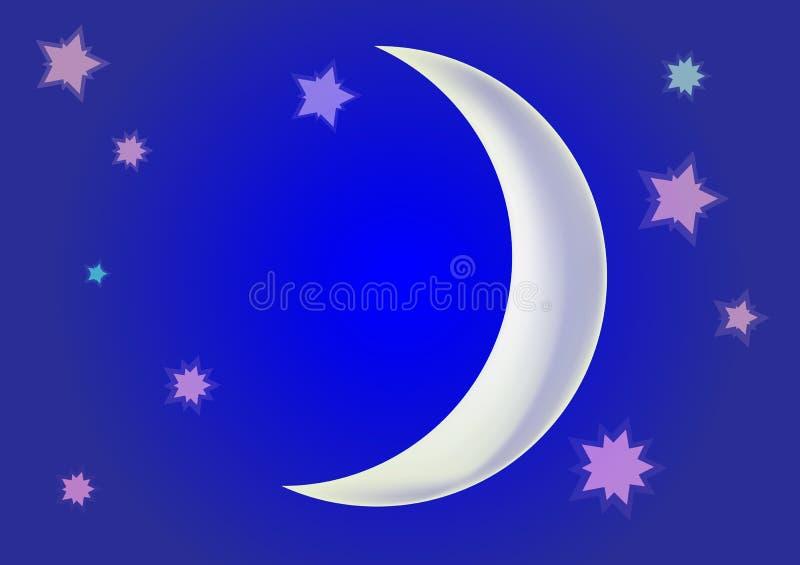 Mese contro lo sfondo stelle del cielo blu di notte di grandi intorno illustrazione di stock