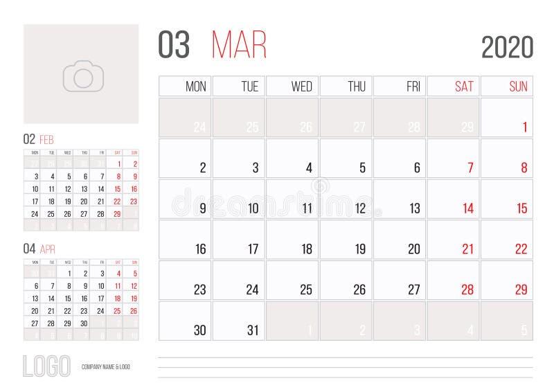 Calendario Marzo 2020.Modello 2020 Di Griglia Del Calendario Illustrazione
