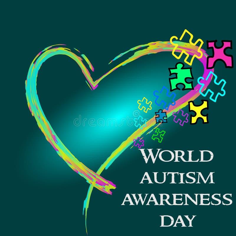 Mese di consapevolezza di autismo Iscrizione di tendenza Multi puzzle colorato dentro illustrazione di stock