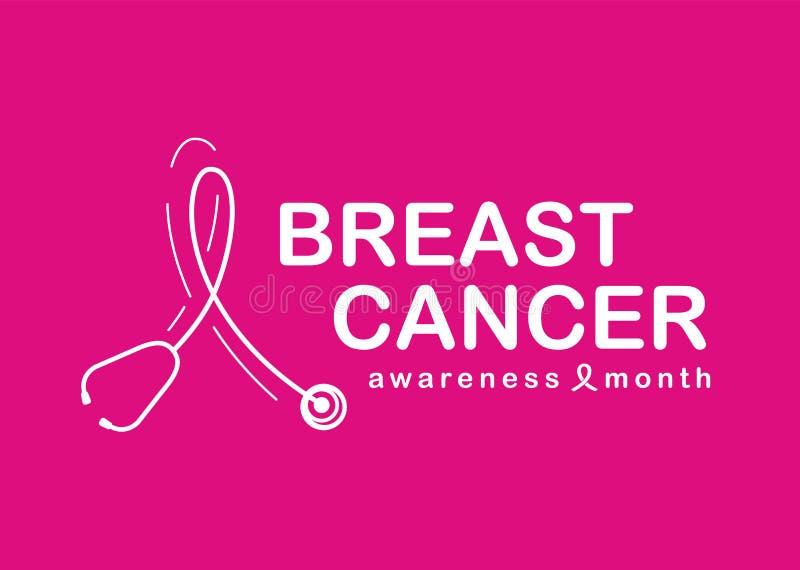 Mese di consapevolezza del cancro al seno con lo stetoscopio bianco a forma di come simbolo del nastro su progettazione rosa di v illustrazione di stock