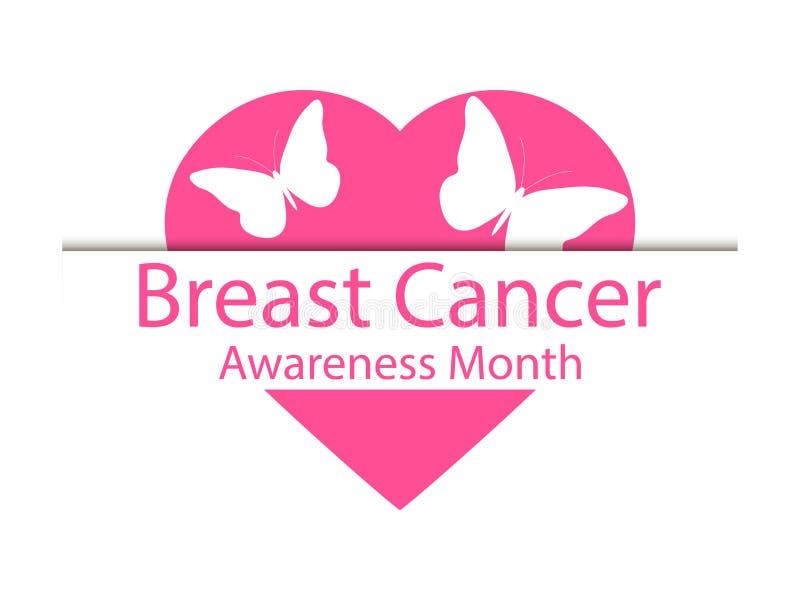 Mese di consapevolezza del cancro al seno Insegna della farfalla e del cuore su un fondo bianco Vettore royalty illustrazione gratis