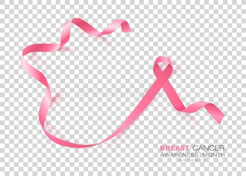 Mese di consapevolezza del cancro al seno Nastro rosa di colore isolato su fondo trasparente Modello di progettazione di vettore  illustrazione vettoriale
