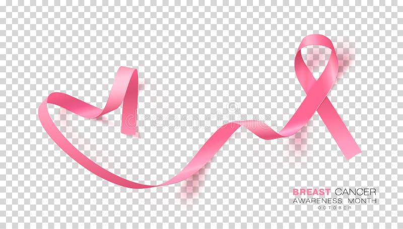 Mese di consapevolezza del cancro al seno Nastro rosa di colore su fondo trasparente Modello di progettazione di vettore per il m illustrazione vettoriale