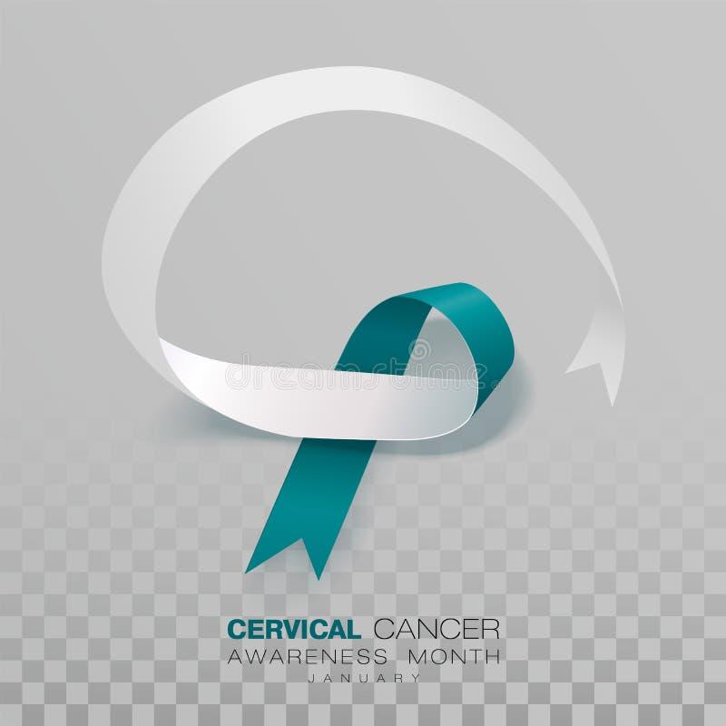 Mese di consapevolezza del Cancro cervicale Teal And White Ribbon Isolated su fondo trasparente Modello di progettazione di vetto illustrazione di stock