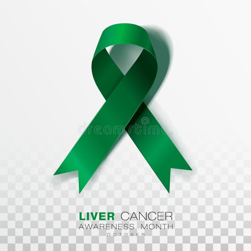 Mese di consapevolezza del cancro del fegato Fondo trasparente di Emerald Green Color Ribbon On Modello di progettazione di vetto royalty illustrazione gratis