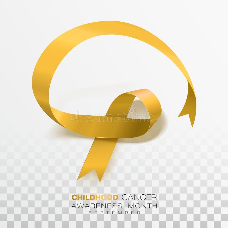 Mese di consapevolezza del cancro di infanzia Nastro di colore dell'oro isolato su fondo trasparente Modello di progettazione di  illustrazione vettoriale