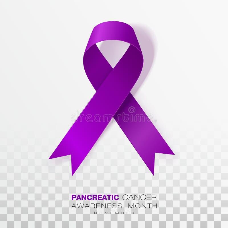 Mese di consapevolezza del cancro del pancreas Nastro porpora di colore isolato su fondo trasparente Modello di progettazione di  illustrazione vettoriale