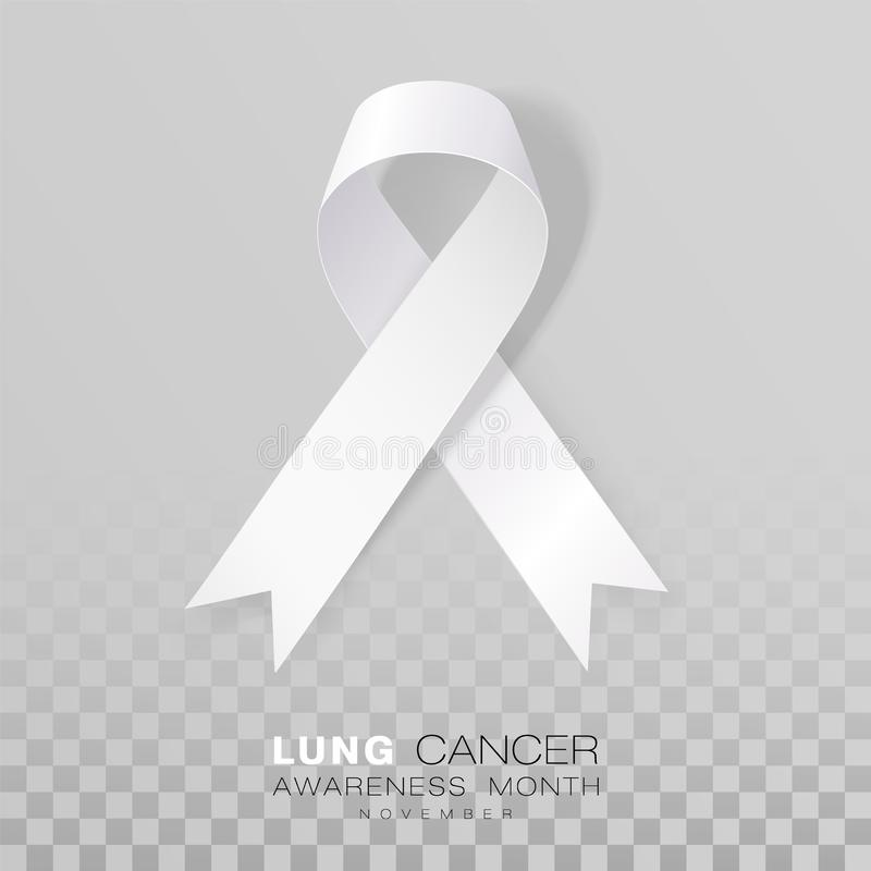Mese di consapevolezza del cancro polmonare Nastro bianco di colore isolato su fondo trasparente Modello di progettazione di vett royalty illustrazione gratis