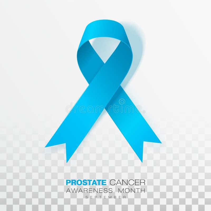Mese di consapevolezza del carcinoma della prostata Nastro blu-chiaro di colore isolato su fondo trasparente Modello di progettaz illustrazione vettoriale