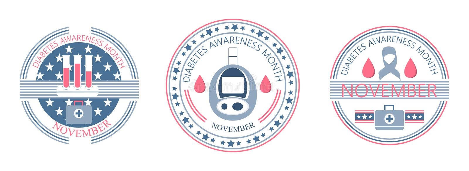 Mese di consapevolezza del diabete in USA a novembre National Health Care Event americano illustrazione vettoriale