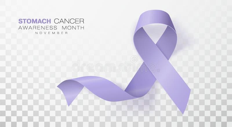 Mese di consapevolezza del tumore dello stomaco Nastro di colore della vinca isolato su fondo trasparente Modello di progettazion illustrazione vettoriale