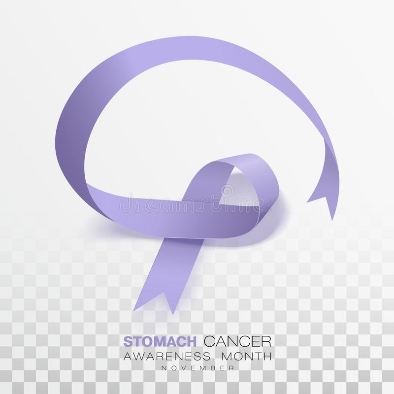 Mese di consapevolezza del tumore dello stomaco Nastro di colore della vinca isolato su fondo trasparente Modello di progettazion royalty illustrazione gratis