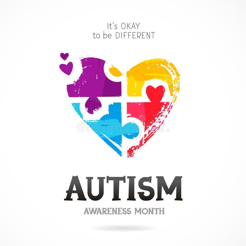 Mese di consapevolezza di autismo Puzzle illustrazione vettoriale