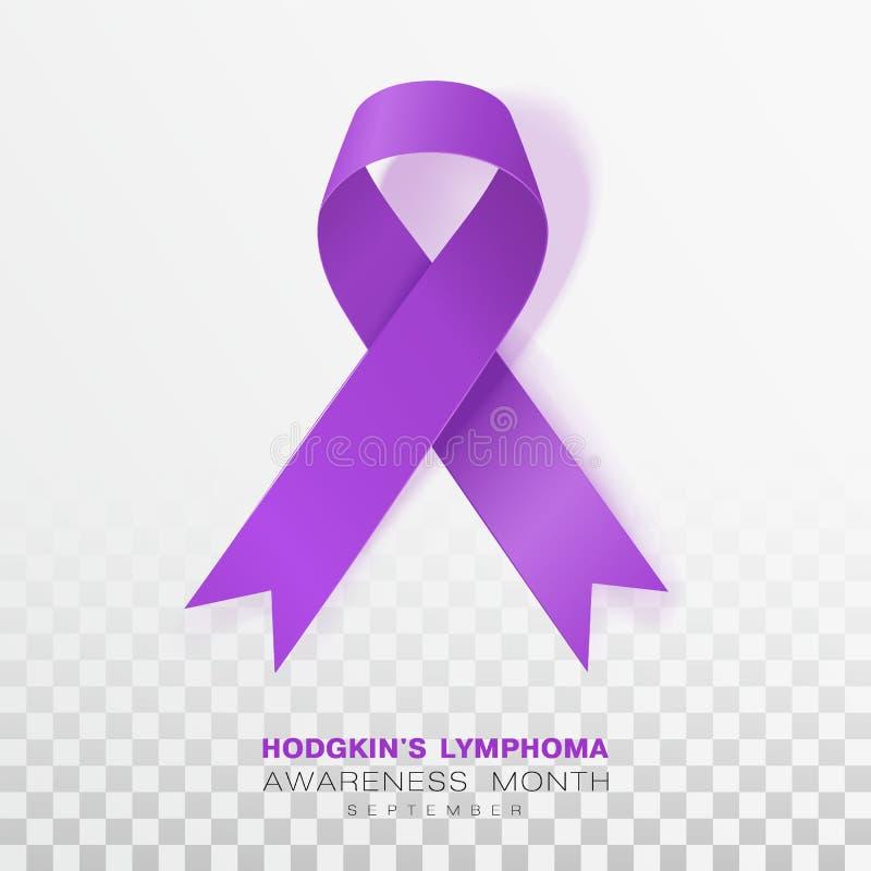 Mese di consapevolezza di linfoma di Hodgkins Fondo trasparente di Violet Color Ribbon Isolated On Modello di progettazione di ve illustrazione di stock