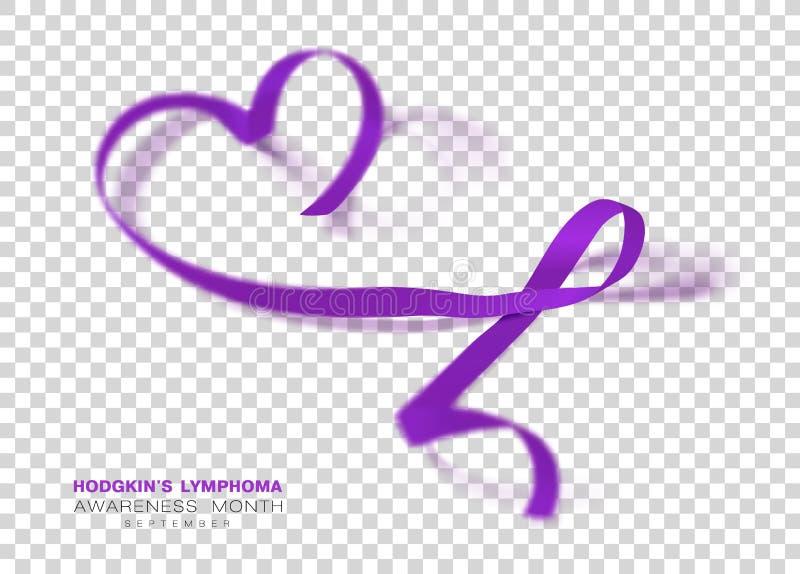 Mese di consapevolezza di linfoma di Hodgkins Fondo trasparente di Violet Color Ribbon Isolated On Modello di progettazione di ve illustrazione vettoriale