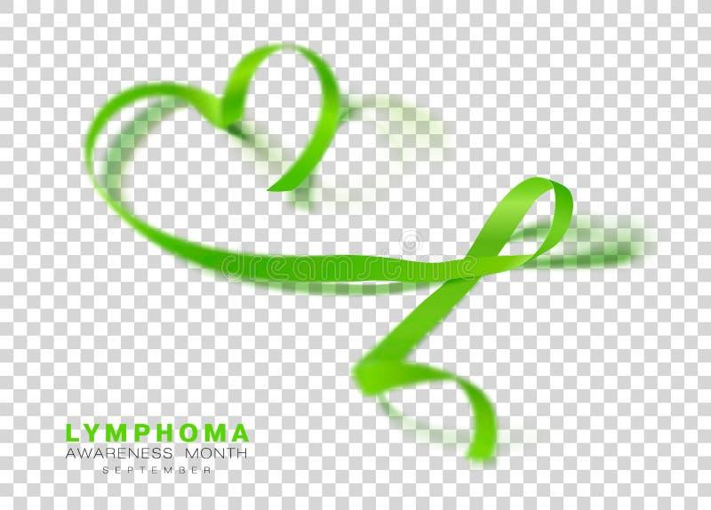 Mese di consapevolezza di linfoma Nastro di colore verde della calce isolato su fondo trasparente Modello di progettazione di vet royalty illustrazione gratis
