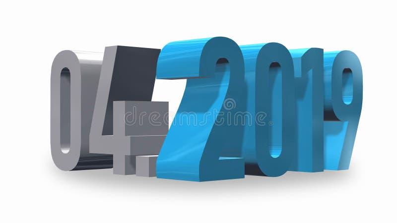 Mese 04 di presentazione dell'anno 2019 illustrazione di stock
