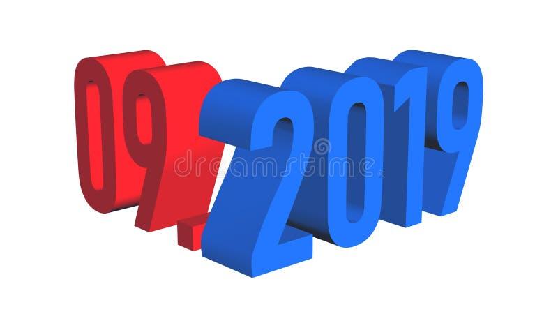 Mese 09 di presentazione dell'anno 2019 illustrazione vettoriale