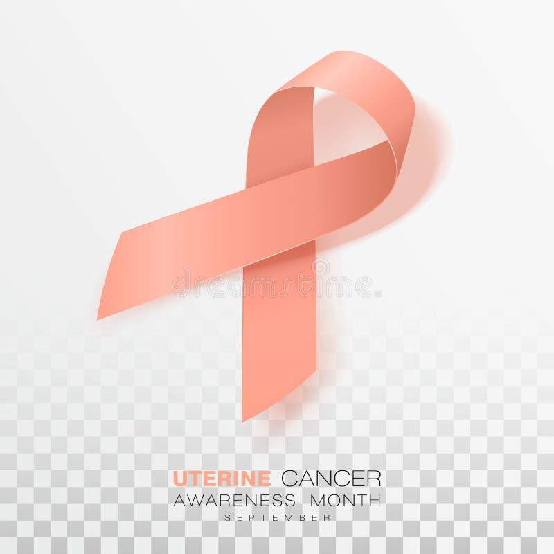 Mese uterino di consapevolezza del Cancro Nastro di colore della pesca su fondo trasparente Modello di progettazione di vettore p royalty illustrazione gratis