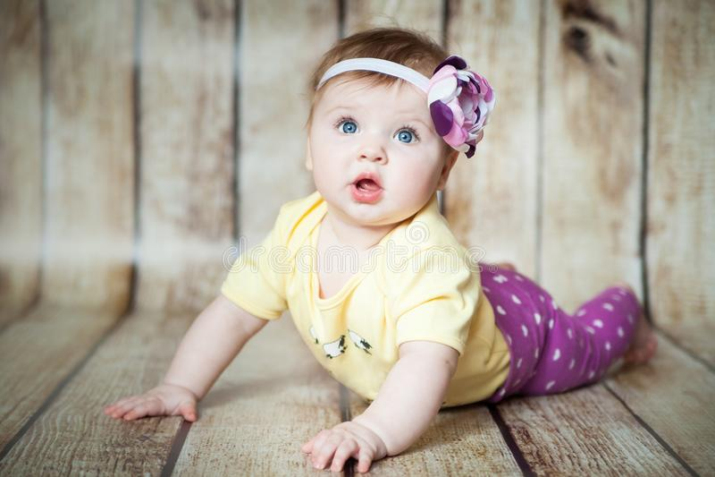 6 meses bonitos da menina fotografia de stock