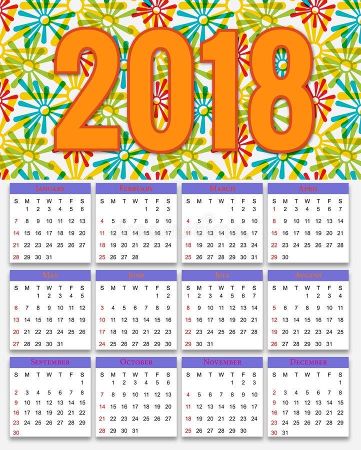 12 meses de diseño 2018 del calendario stock de ilustración