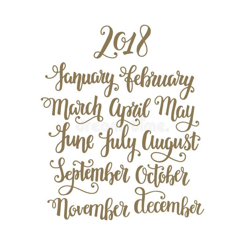 Meses de la caligrafía manuscrita del vector del año 2018 Letras dibujadas mano de oro con flourishes decorativos stock de ilustración
