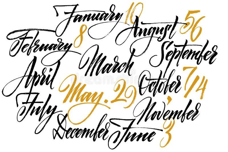Download Meses del año ilustración del vector. Ilustración de cepillo - 44852635