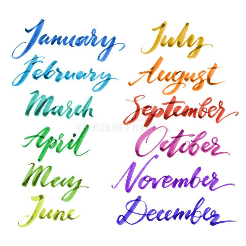Meses del año a mano Caligrafía creativa dibujada mano stock de ilustración