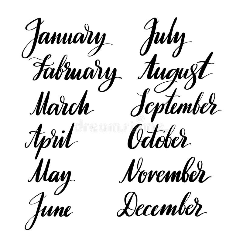Meses del año a mano Dé la caligrafía creativa exhausta y cepille las letras de la pluma, diseño para los carteles, tarjetas, y ilustración del vector