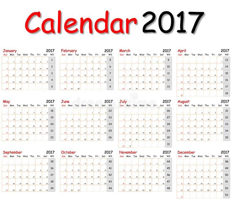 12 meses del calendario 2017 fotografía de archivo