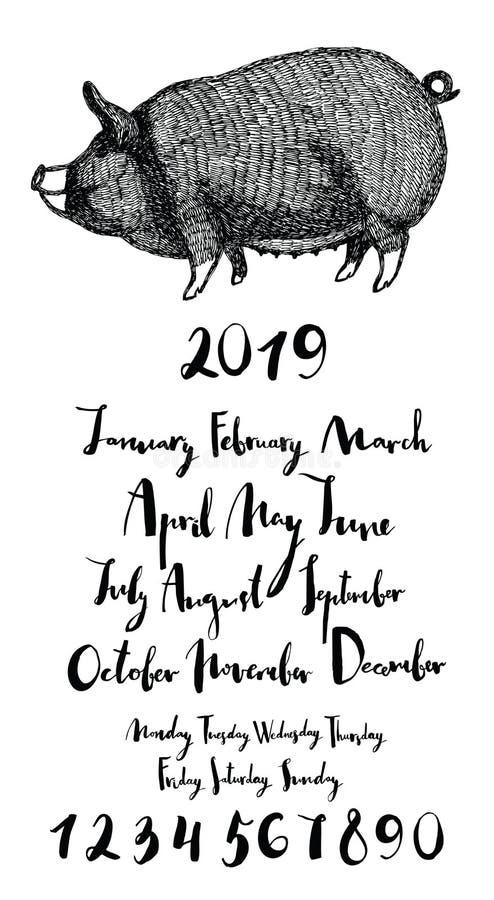 Meses leitães do ano 2019 dias da semana numeram ilustração do vetor