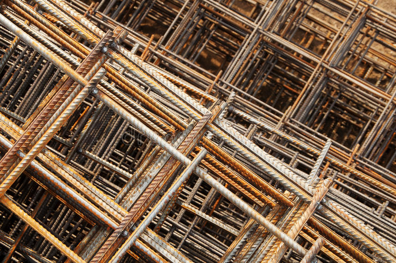 Mesh-1. Stack of reinforcing bar mesh in a construction site royalty free stock image