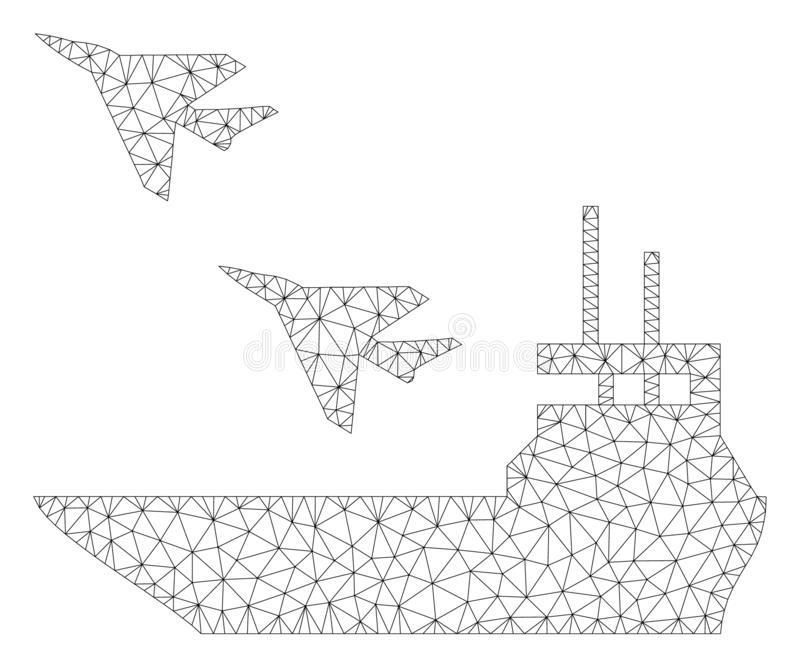 Aircraft Carrier Polygonal Frame Vector Mesh Illustration. Mesh aircraft carrier polygonal 2d illustration. Abstract mesh lines and dots form triangular aircraft royalty free illustration