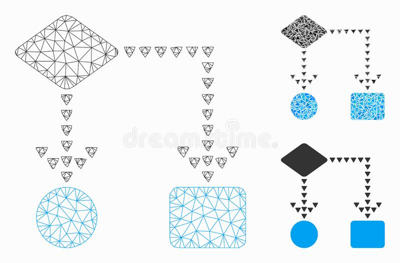 Algorithm Flowchart Vector Mesh Carcass Model and Triangle Mosaic Icon. Mesh algorithm flowchart model with triangle mosaic icon. Wire carcass polygonal network vector illustration